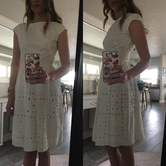Lela Rose Dresses & Skirts - SOLD Lela Rose Cotton Ivory Fit and Flare